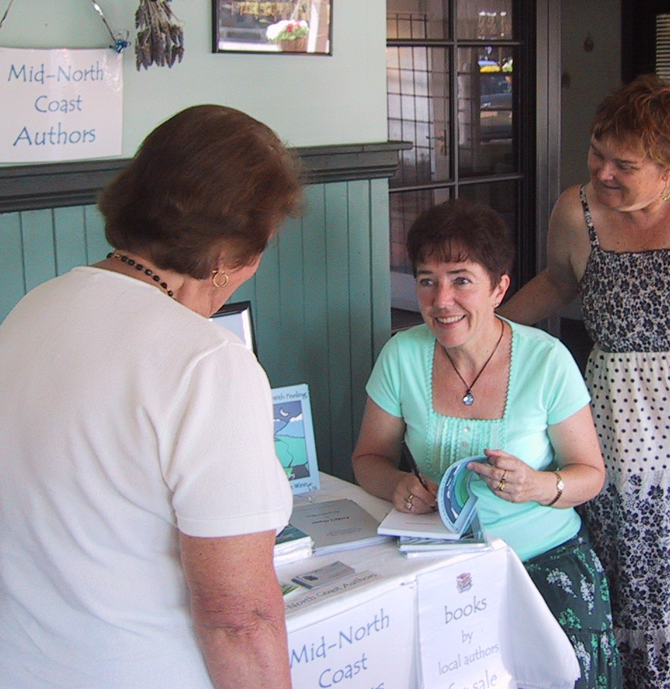Jacqui signing books at Jae Bees Arts Day